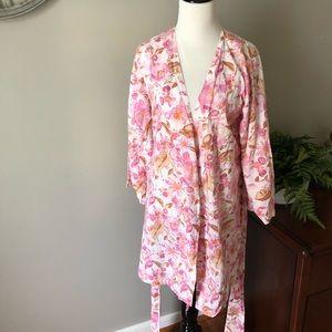 Pretty Plum Sugar Knee Length Floral Robe